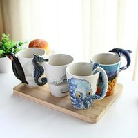 Wholesale Paint For Pottery - Creative Hand-Painting Ocean Series 3D Animals Mug Cup Hippocampus Dolphin Octopus Penguins Mugs Coffee Tea Cup Gift For Couples