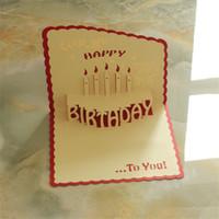 tarjetas de kirigami al por mayor-Cumpleaños Tarjetas de felicitación 3d Tarjeta emergente hecha a mano Tarjeta de felicitación de feliz cumpleaños Regalos artesanales de origami Kirigami con sobre multicolor