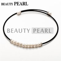 Wholesale Ladies Freshwater Pearl Necklace - Black Cotton Cord White or Black Freshwater Cultured Pearl Necklace Chokers for Women Ladies Costume Jewelry