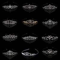 Wholesale Girls Rhinestone Tiara - Stunning Princess Wedding Bridal Flower Girls Crystal Rhinestone Headband Tiara Hair Band Kid Girl Birthday Party Hair Accessories