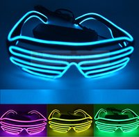 Wholesale Festival Lights For Sale - Hot Sale New Arrival Hot Sale EL Wire Neon LED Light Up Shutter Fashionable Glasses for Costume Party Festival YH137