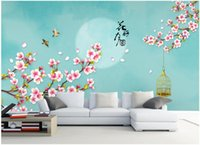 Wholesale Peach Flower Wallpaper - 3d room wallpaper custom photo Chinese style contracted peach flower adornment picture painting 3d wall murals wallpaper for walls 3 d