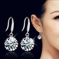 Wholesale Rhodium Stud Earrings - Elegant Fashion 925 Sterling Silver Women Crystal Rhinestone Ear Stud Earrings AAA Zircon Earring Chandelier Ear Ring Jewelry Accessories