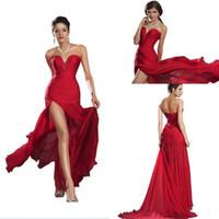 güzel uzun balo elbiseleri toptan satış-Vintage Kırmızı Balo Elbise Güzel Seksi Uzun Şifon Kadınlar Özel Durum Elbise Yaz Tatil Akşam Parti Kıyafeti