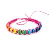 ingrosso braccialetti di legno fatti a mano-10 colori in legno di stile cachi perline amicizia bracciali corda regolabile braccialetti di perline fatti a mano braccialetto per le donne uomini
