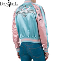 Wholesale Cool Winter Jackets Women - Wholesale- Cool satin eagle wings embroidery bomber jacket women basic coats sukajan jackets winter 2016 casual souvenir jacket new outwear