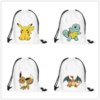 Barato Cartoon Back Packs-Poke Cartoon Backpack estilo sacos de impressão 3D Drawstring Mochilas Escola Homens Mulheres Bagpack Shoulder Shopping Shopper Bag mulheres Back Packs