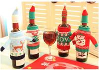 Wholesale Luminous Bottle - Christmas Wine Bottle Bag Dinner Party Decoration Creative knit wine bag Bottle Cover Bag Christmas decoration