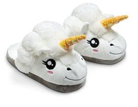 Wholesale Despicable New - New Plush Unicorn Cotton Home Slippers for White Despicable Winter Warm Chausson Licorne Indoor Christmas Slippers Fit Size36-41
