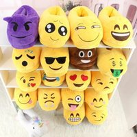 18 estilos Emoji Slippers Cartoon Sweet Warm Plush Slipper QQ Expression Unisex Chinelos <b>Winter Household</b> Shoes 2pcs / par CCA7726 100pairs