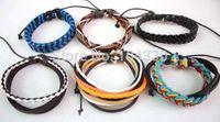Wholesale Tribal Silicone - 60 pcs Mens Womens Wrap Leather Bracelet Braided Rope Wristband Black Surfer Tribal