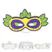 Wholesale-12PCS / LOT.Colour riempimento maschera di carta, carta crafts.Drawing toys.KIndergarten crafts.Early apprendimento hobby.Creative.22x12cm