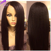 Wholesale Wig Long Straight Hair 34 - Free shipping ,African yaki straight wig long synthetic lace front wig 180density side part #1b #2 #3 #4 synthetic hair wig