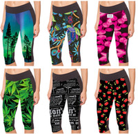English Letter Sports Capri Pantalons Leaf Red Star Trees Pantalon habillé de yoga Retro Flower Skull 3D Print Leggings Femme Pepper LN7Slgs