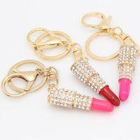 Wholesale Lipstick Charm Pendant - New Fashion Rhinestone Crystal Lipstick Keyring Charm Bag Purse Car Pendant Key Chain In Stock WX-K03