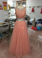 Wholesale Top Hot Women Images - 2015 New Arrival Two Pieces Long Prom Dresses A-Line See Through Bateau Neck Cystal Beaded Corset Top Women Formal Party Evening Gowns Hot