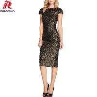 Wholesale Dresse Women - Sexy Elegant Women Black Gold Sequins Dress 2017 New Bodycon Vestidos Night Club Sundress Lady Slim Evening Party Split Dresse q1113