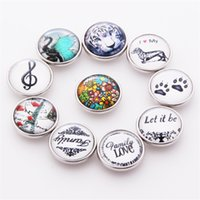 Wholesale Bead Ring Patterns - Mix Copper Snap Button Fit 18MM Character Pattern Glass Rhinestone Jewelry Charms Random 10PC a Pack
