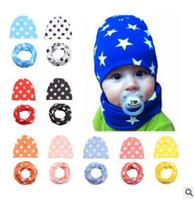 Wholesale Cute Scarves For Kids - Baby Hat Scarf Set Cute Pink Star Print Cap Baby Hats Newborn Hat Children Scarf Collar Boys Beanie Kids Cap for Boys Girls