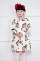 Wholesale Lolita Long - Girl Dress 2016 Brand New Cat Print Kids Autuman Princess Dress Stylish Party Dress For Baby Girl With Long Sleeves