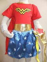 Wholesale Star Baby Dress - Wonder Woman children dress kids halloween costumes for girls party cosplay halloween baby Superhero Costume with Cape C1403