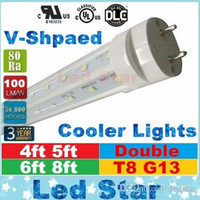 Wholesale G13 T8 Smd Led Tube - v shaped led tubes lights 4ft 5ft 6ft 8ft t8 g13 double lines led light tubes for cooler lighting AC 85-265V UL DLC