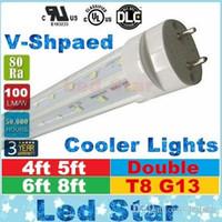luz del tubo de t8 8ft v al por mayor-Tubos de luz led en forma de v 4 pies 5 pies 6 pies 8 pies t8 g13 líneas dobles tubos de luz led para iluminación de refrigeración AC 85-265V UL DLC