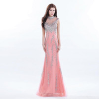 Wholesale long gold occasion dresses for sale - 2017 Sparkly Coral High Neck Beaded Long Evening Dress Elegant Women Sequins Crystal Prom Party Gown Formal Occasion Wear