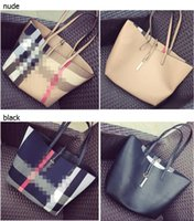 Wholesale women pictures hot - Popular Hot Sell Famous Brand Women Plaid Canvas PU Shoulder Shopping Bucket Picture Package Woman Composite Bag