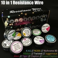 Wholesale Resistance Ribbon - Newest 10in1 Resistance wire drawing K-A1 Ni200 Nichrome 80 Ribbon Twisted Fused Clapton Alien Tiger Juggernaut DIY Vapor RDA Pre Coils DHL