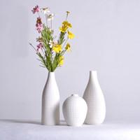 vaso branco simples venda por atacado-Modern Simples de Alta qualidade Vaso De Cerâmica Pura Mão-Branco Sala de Jantar Mesa de Jantar Artes Decorativas Vaso Seco 3N002