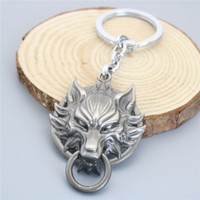Wholesale Wholesale Wolf Keychain - Hot Anime Final Fantasy Wolf Head Key Rings Black Car Key Rings & keychain Jewelry For Gift
