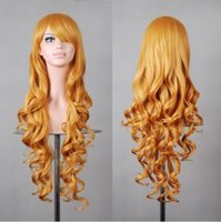 Barato Longo Cabelo Humano Curl-New Colorful Hair Clip Womens 80cm Long curls Wigs Cosplay peruca de cabelo humano Neat Bangs 002 grosso