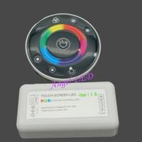 llave del controlador remoto de la pc al por mayor-1 unids LED Touch Round RGB Controlador DC12V-DC24V 18A 7 Teclas RF Controlador Remoto