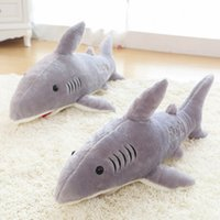 бесплатный рыбацкий материал оптовых-Большой размер 70 см гигантская акула плюшевые акула кит фаршированные рыбы океана животных Kawaii куклы игрушки для детей дети коробка мягкая игрушка бесплатная доставка