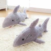 criança, pelúcia, animal venda por atacado-Grande tamanho 70 cm tubarão gigante tubarão de pelúcia baleia recheado de peixe oceano animais kawaii boneca brinquedos para crianças crianças caixa de brinquedo de pelúcia frete grátis