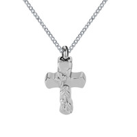 Wholesale cremation jewelry cross - Urn Necklace Rose Flower on Cross Memorial Keepsake Ash Pendant Stainless Steel Cremation Jewelry with Gift Bag and funnel
