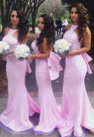 Wholesale Under Wedding Dress Layers - 2016 Pink Long Cheap Mermaid Bridesmaid Dresses Halter Neck Layers Maid of Honor Gowns Formal Wedding Party Dresses Free Shipping