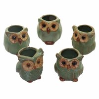 Wholesale Large Green Vases - 5pcs Creative mini owl shape flowerpots for Fleshy Plants Small CeramicPottery Vase Nursery home office Decor cute gift Craft