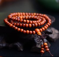 Wholesale Sandalwood Carvings - New arrive Sandalwood Carved Buddha Prayer Beads Bracelet 108pcs 6mm Bead 55cm Length Wooden Bracelet band Best gift