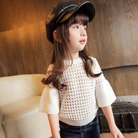 Wholesale Crochet Dresses 5t - Girls Tops Children Pullover Korean Girl Dress Wool Sweaters 2016 Spring Autumn Crochet Sweater Child Clothes Kids Clothing Lovekiss C26953