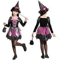 Wholesale Halloween Dress Witch - New Halloween Costumes for Children Kids Costume Girls Witch Cosplay Costume Black Dress Clothing +Hat LX3656