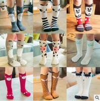 bebek şivron tozluk toptan satış-Yeni çorap bebek pamuk tilki çorap kızlar diz yüksek çorap bebek yıldız ayakkabı tozluk çorap bebek chevron bacak ısıtıcıları Ücretsiz Gemi