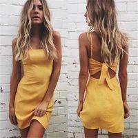 Wholesale Yellow Casual Backless Dress - Backless 2017 beach summer dress women sundress Bow casual linen sexy dress Slim fit bodycon white short dress vestidos XZ-066