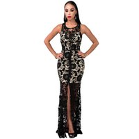 Sexy Frauen ärmelloses Full Lace Crochet Abend Party Cocktail lange Club Kleid