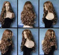 Wholesale Very Long Curly Hair Wigs - free shipping charming beautiful new Best Hot Sell! very beautiful brown long curly health hair wig wigs for women