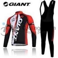 Wholesale Cycling Bib Longs - Giant 2015 long sleeve autumn bib cycling long jersey bib pants clothes bicycle bike riding wear set 4 models