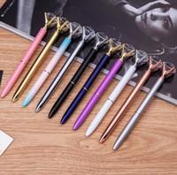 chicas bolígrafos al por mayor-Kawaii bolígrafos de cristal Ballpen Fashion Girl 19 quilates de diamante grande bolígrafos Bolígrafos para útiles escolares papelería