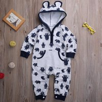 Wholesale funny cute baby boy - cute kids jumpsuits Cotton Newborn Baby Girl Boy unisex Clothes Bodysuits Rompers funny animals logo printed Playsuit with pocket Outfits