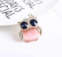 Wholesale 14k Pink Diamond - creative new fashion boutique alloy diamond pink brooch cute owl fine jewelry party accessory